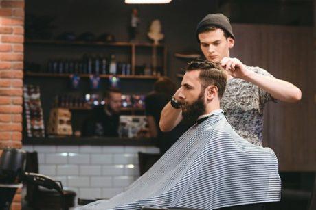 Barber giving a customer a fresh, new cut